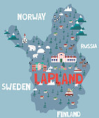 Illustration map of Lapland. Vector illustration