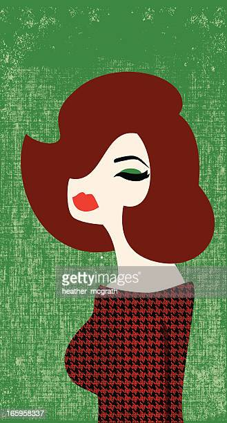 Illustration of a beautiful red headed woman on green