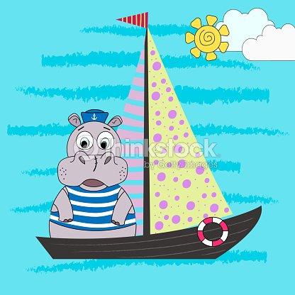 Illustration Dun Hippopotame De Dessin Animé Dun Marin Sur Un Navire