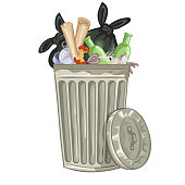 Illustration of a cartoon trash can.File saved in EPS 10 format and contains blend and transparency effect