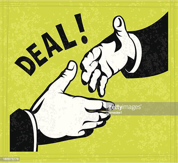 A illustration of a deal being made via handshake