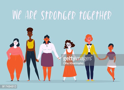 Illustration of a diverse group of women. Feminine : stock vector