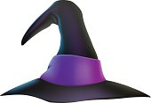 An illustration of a cartoon witch's hat with purple ribbon. Vector file is eps 10 and uses transparency blends and gradient mesh