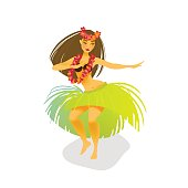 Illustration of a Hawaiian hula dancer woman dancing in a grass skirt