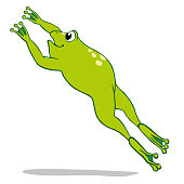 Illustration of a jumping frog. Ideal for educational and cultural materials
