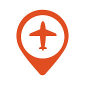 Illustration of a map mark icon with a plane. Flat eps10