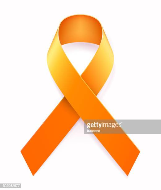 Illustration of a metallic orange awareness ribbon.