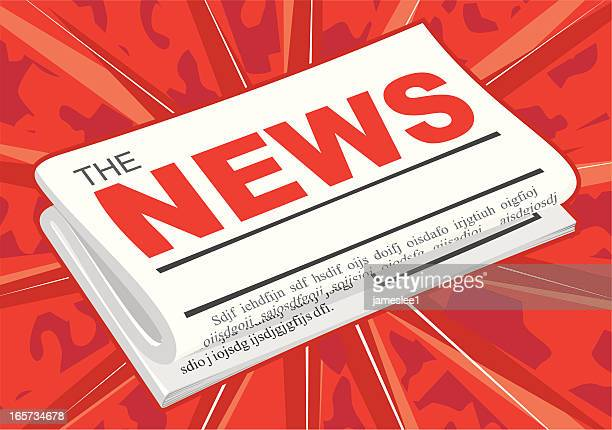 Illustration of a newspaper on a red background