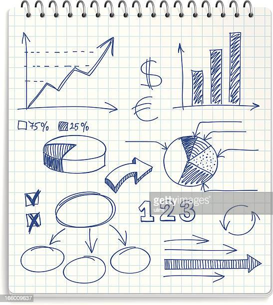 Illustration of a notepad with financial doodles