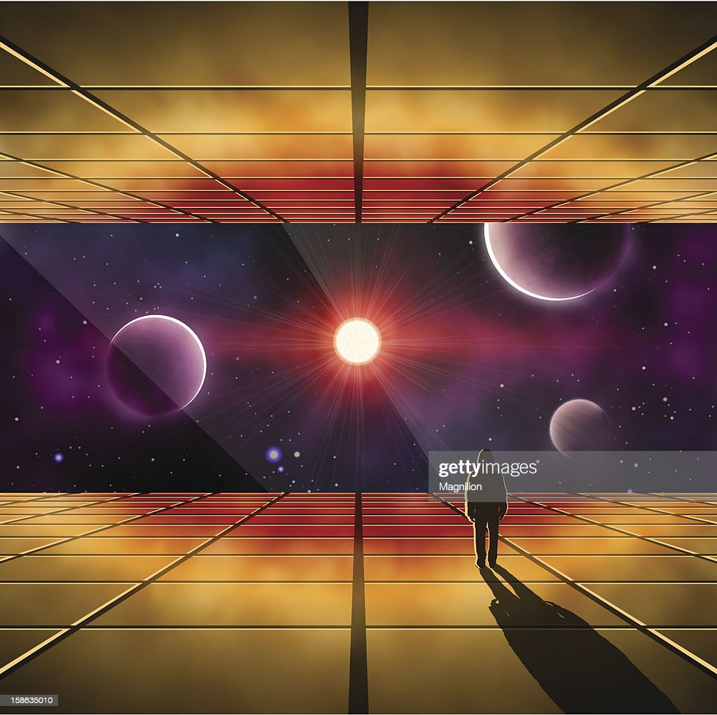 Illustration of a person in a craft looking out into space : Vector Art