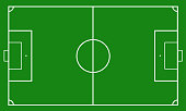Illustration of a soccer field. Football field or soccer field background. Vector green court for create game.