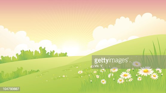 Illustration of a spring landscapes : Vector Art