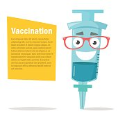 Illustration of a syringe. Glasses, character. Vaccination. Vector Cartoon character Isolated Flat