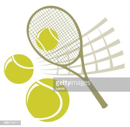 Illustration Of A Tennis Racket Net And Balls Vector Art ... Tennis Net Vector