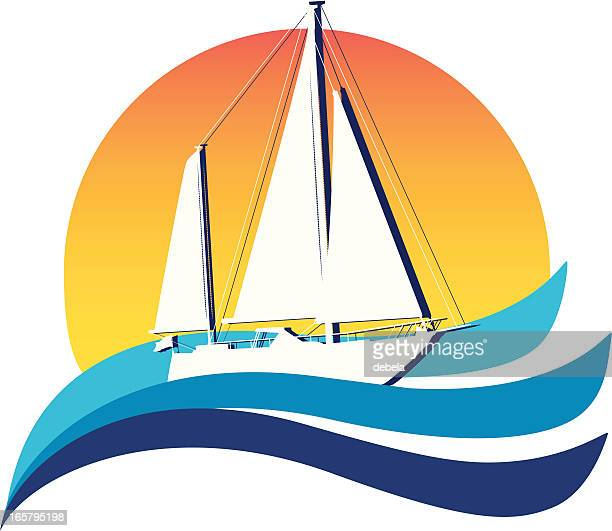 Illustration of a white sailboat on the sea