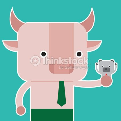 Illustration Of Bull Symbol Of Stock Market Trend Vector Art