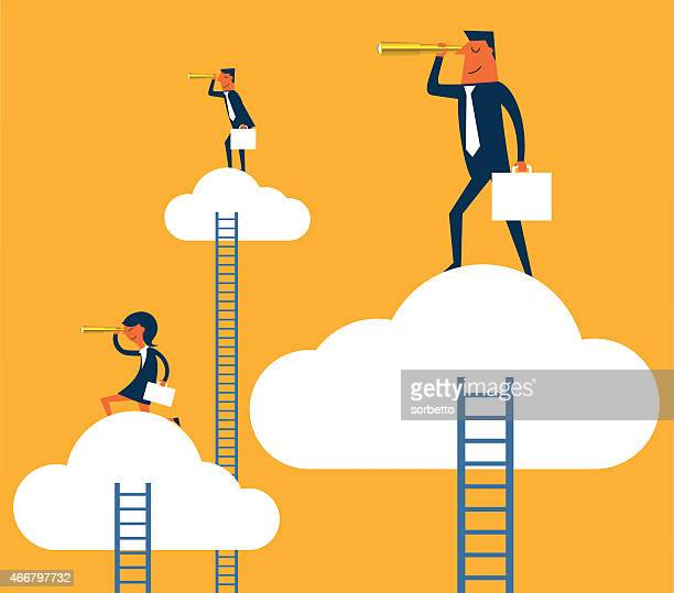Illustration of business people looking for opportunities