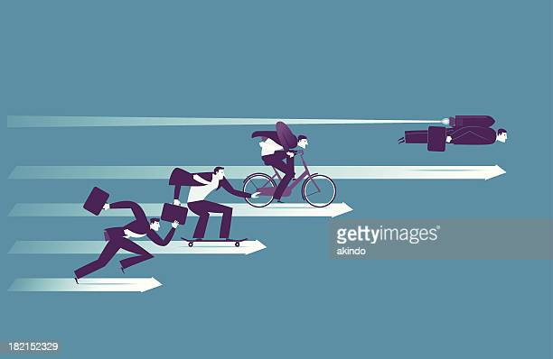 Illustration of businessmen racing