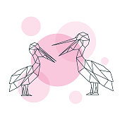 Illustration of Couple cute Pelicans in geometric style.. Minimal summer print. Vector print.