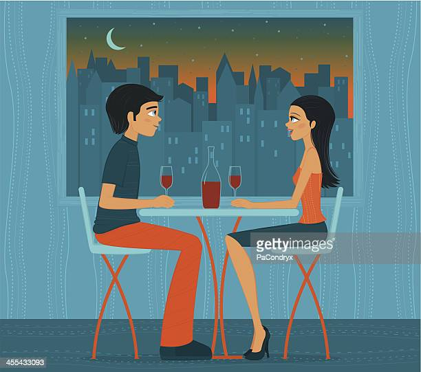 Illustration of couple drinking wine in front of city lights