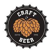 Illustration of craft beer bottle cap with hops for pub, bar, beer shop, brewery, restaurant. Vector emblem, label, icon, stamp, badge.