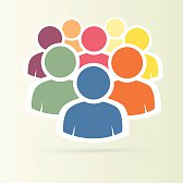 Illustration of crowd of people - icon silhouettes vector. Social icon. Flat style design