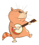 The red cat the musician plays  musical instrument