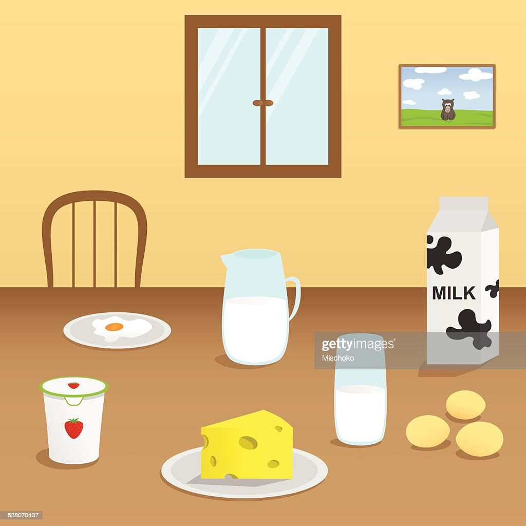 Illustration Of Dairy Products In The Dining Room : Vector Art