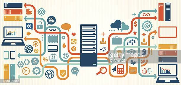 Illustration of data, server and storage elements