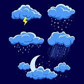 Set of cartoon clouds on dark blue night sky. illustration of different weather. rain, storm, lightning, snow, moon light sky with stars. Clouds vector collection. Cloudscape in dark blue sky, night c