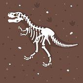 Vector flat style illustration of dinosaur skeleton in the ground. Prehistoric predator - Tyrannosaurus Rex.