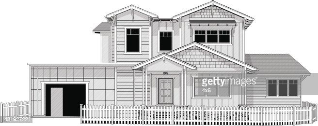 Illustration Of Dream Home With White Picket Fence Vector ...
