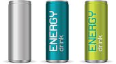Illustration of energy drink cans in different colors, isolated on white background
