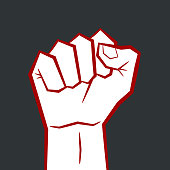Illustration of protest by aggressive male fist symbol