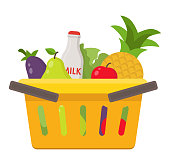 Flat design colored vector illustration of food and drink products into basket. Vector flat illustration