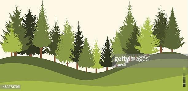 Illustration of green forest on sloped land