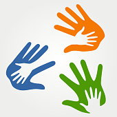 Illustration of child hand in adult hand - family union, kindness silhouette symbol
