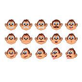 Illustration of head monkey character cartoon - full color