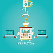 Modern vector illustration of idea factory. Industry of idea.