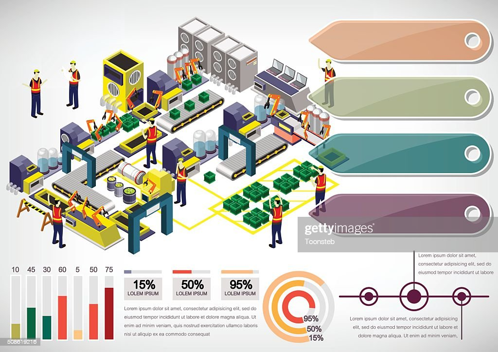 illustration of info graphic factory equipment concept : Vector Art