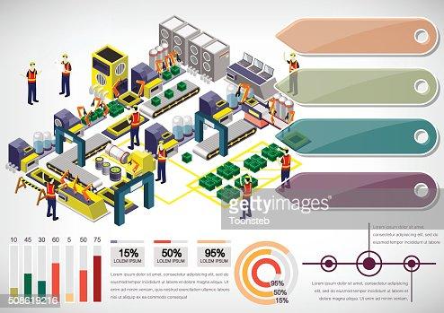 illustration of info graphic factory equipment concept : Vector Art