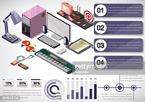 illustration of info graphic interior office concept : Vector Art