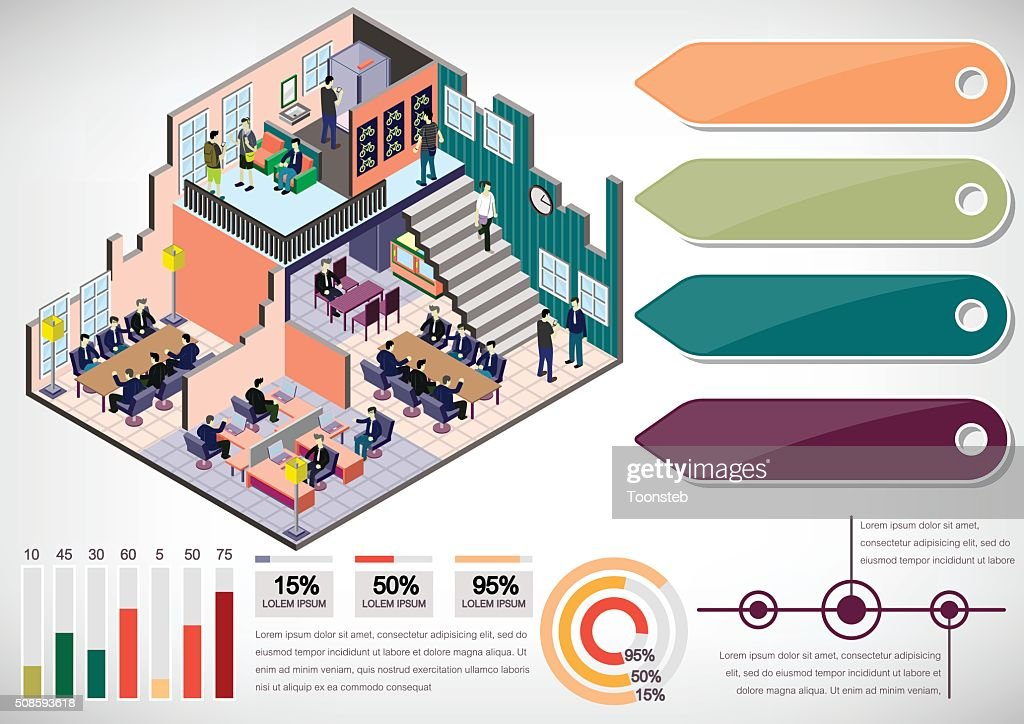 illustration of info graphic interior room concept : Vector Art