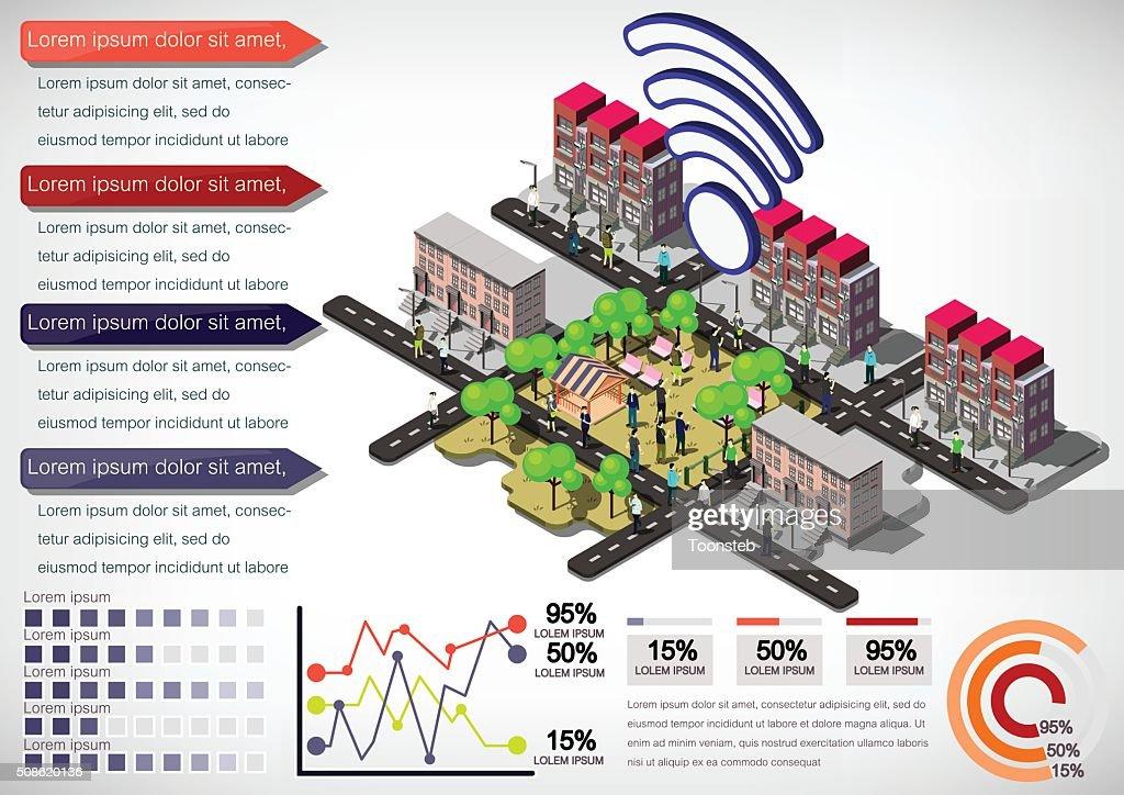 illustration of info graphic urban city concept : Vector Art