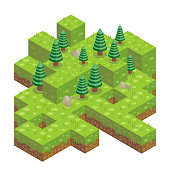 Illustration of abstract 3d isometric forest with cube ground, trees, rocks and grass
