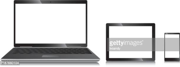 Illustration of laptop, tablet and cellphone