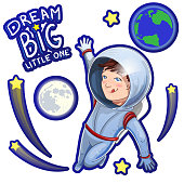Illustration of little dreamer boy cosmonaut in space with description Dream big little one. Set of space stickers design