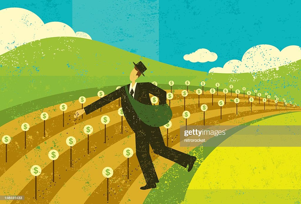 Planting seeds for financial growth : Vector Art