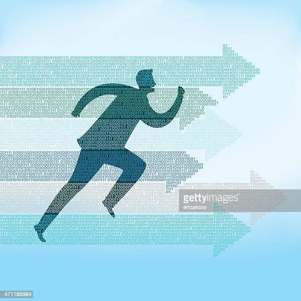 Illustration of man running with arrows pointing