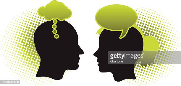 Illustration of man thinking and woman talking